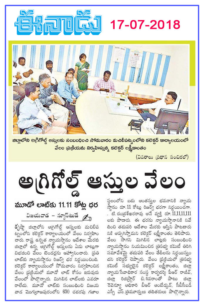 AgriGold Properties Auction Eenadu 17-07-2018
