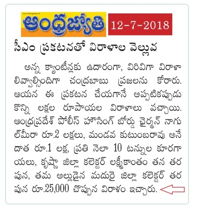 Collector Donation to Anna Canteen News Clip Jyothy Main 12-07-2018
