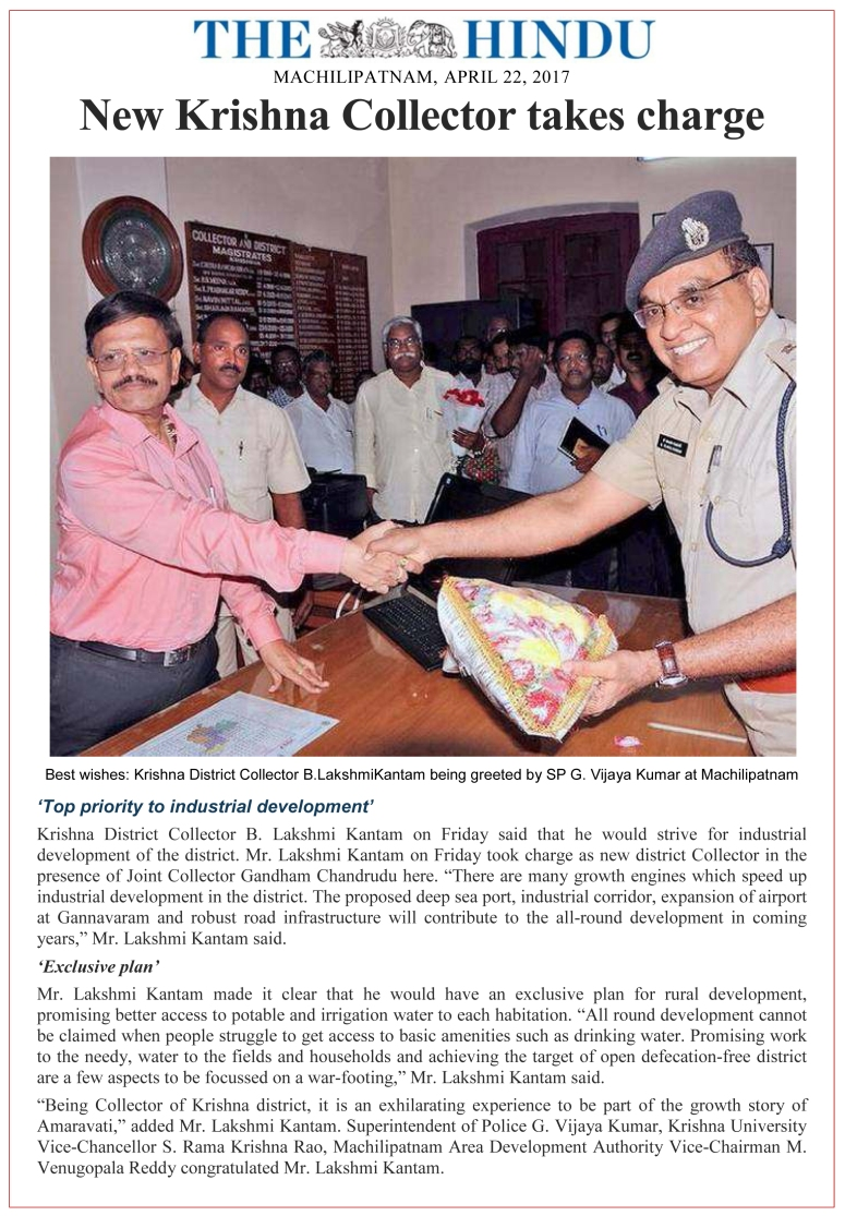 Collector Lakshmikantham Takes Charge as Krishna District New Collector April-2017.jpg