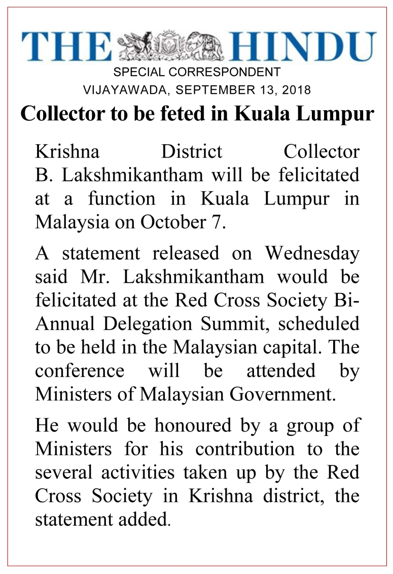Collector Feted in Malaysia News Clip The Hindu 13-Sep-2018.jpg