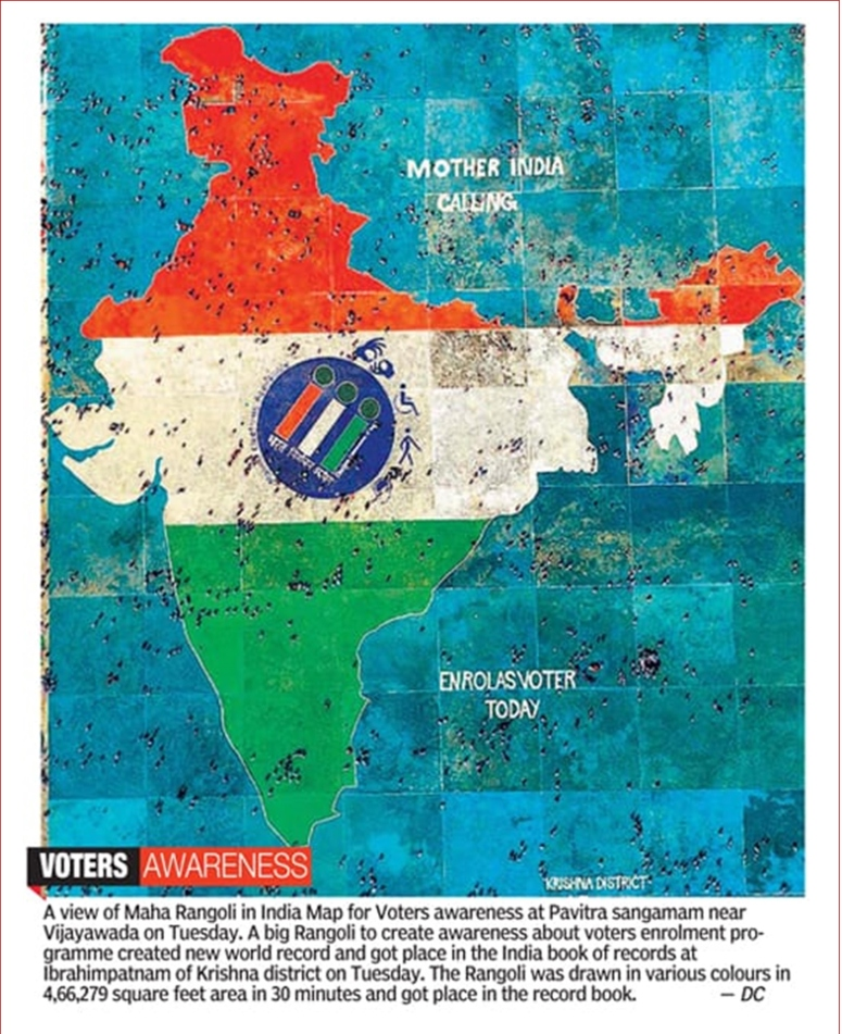 India Book of Records - Gigantic India Map Rangoli Feat News Clips 31-Oct-2018-19