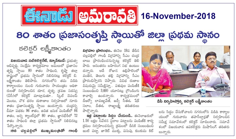 80 percent satisfaction Eenadu 16-11-2018