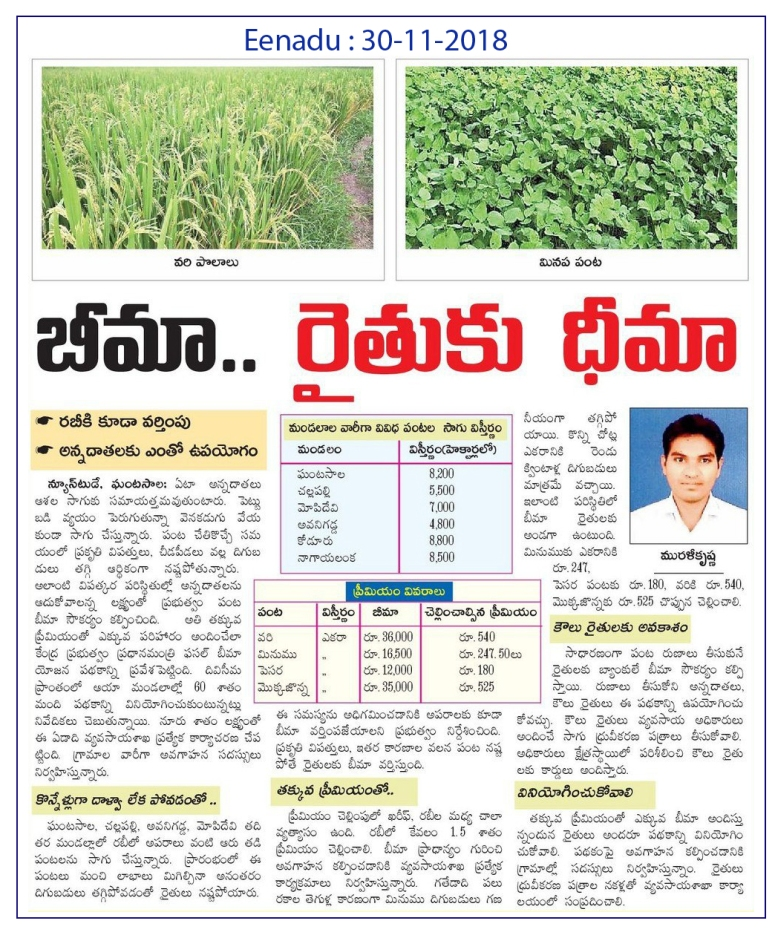 Crop Insurance Eenadu 30-11-2018
