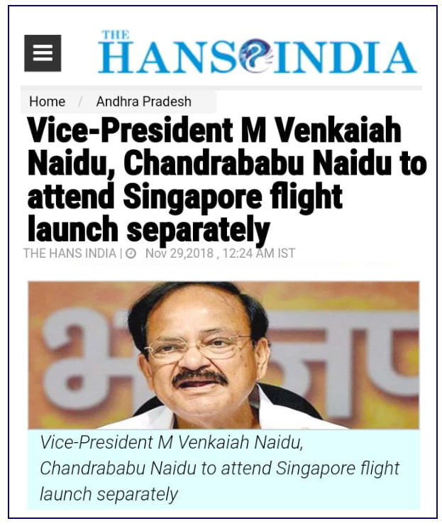 Singapore Intl Flights Inaugurataion on 04-Dec-2018 Hans India News Clip 29-11-2018