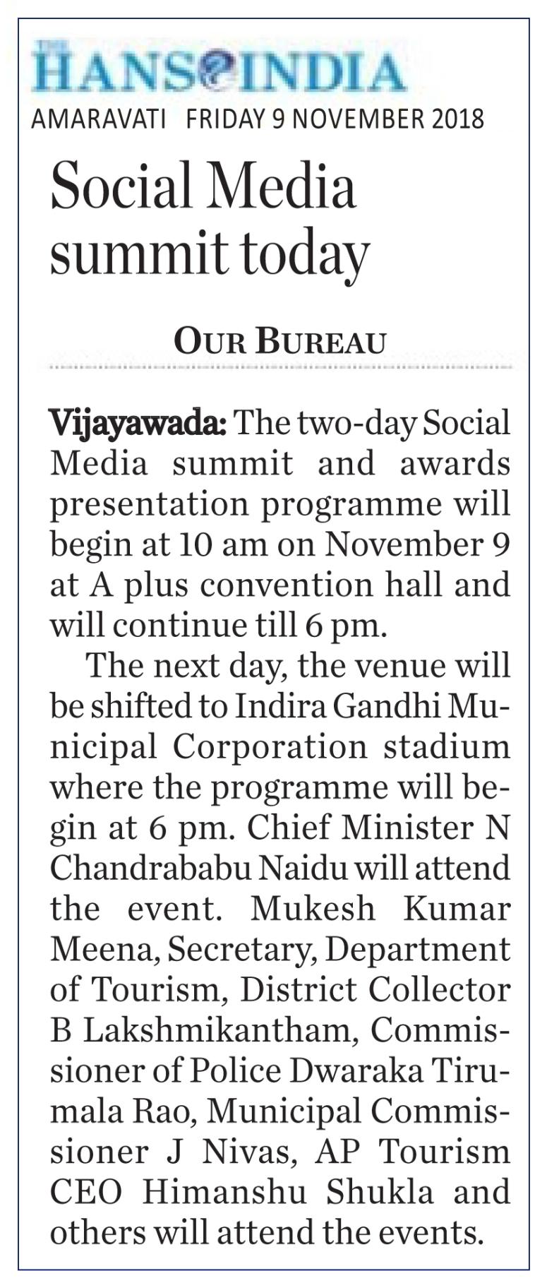 Social Media Summit Hans India 09-11-2018