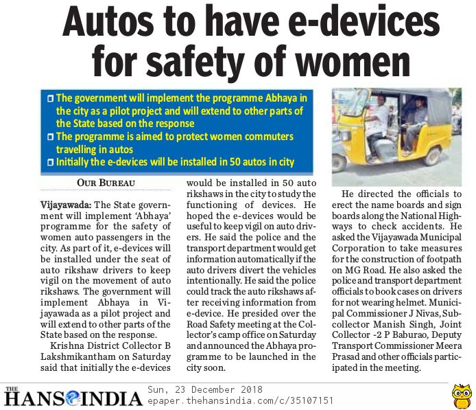 Road Safety Autos to have e-devices The Hans India 23-12-2018