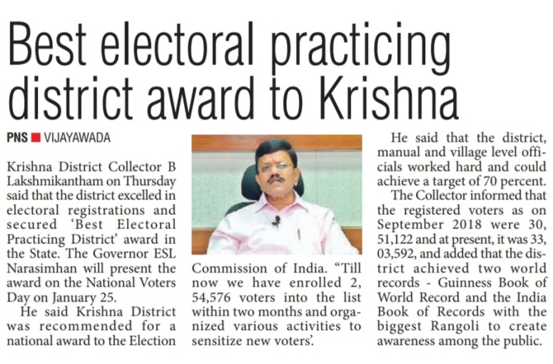 best electoral practices award for collector - pioneer 25-01-2019