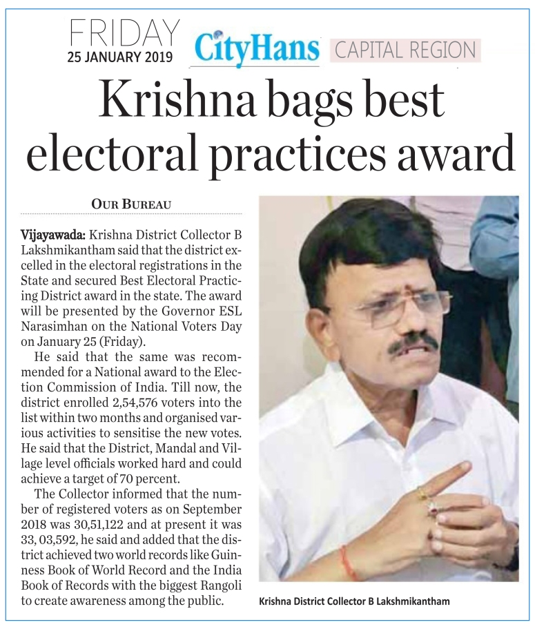 best electoral practices award for collector -the hans india 25-01-2019