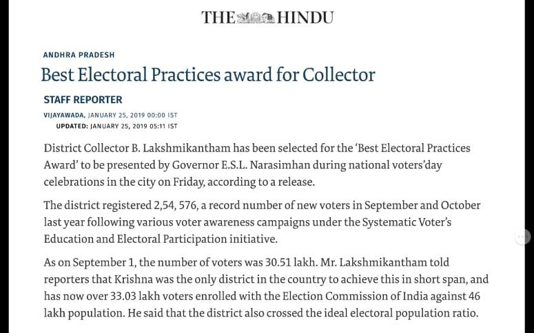 best electoral practices award the hindu 25-jan-2019
